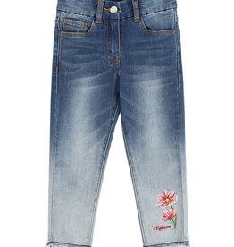 Monnalisa blauwe jeans broek met bloem