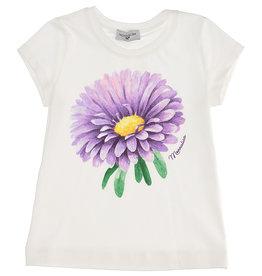 Monnalisa T-shirt ecru bloem paars
