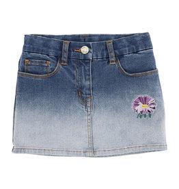 Monnalisa blauwe jeans rok met paarse bloem