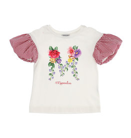 Monnalisa T-shirt ecru bloem mouw strepen
