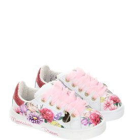 Monnalisa ecru sneakers met bloemen en rits