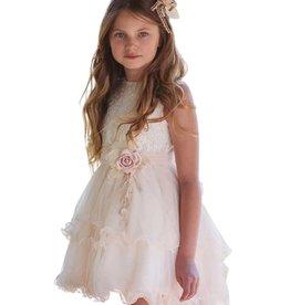 Mimilu ecru zand kleurige jurk achter langer