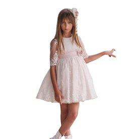 Mimilu zeer licht roze jurk mouw in tule met kant