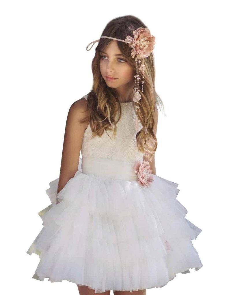Mimilu jurk kant boven 4 lagen tule rok