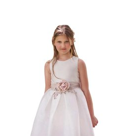 Mimilu klassieke ecru jurk met ceintuur en bloem