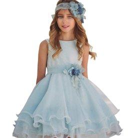 Mimilu wijde voile jurk in aqua kleur