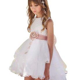 Mimilu ecru jurk voile langer achter