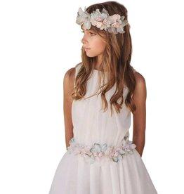 Mimilu voile jurk ecru verl taille bloemen ceintuur