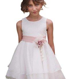 Mimilu gladde ecru voile jurk met ceintuur