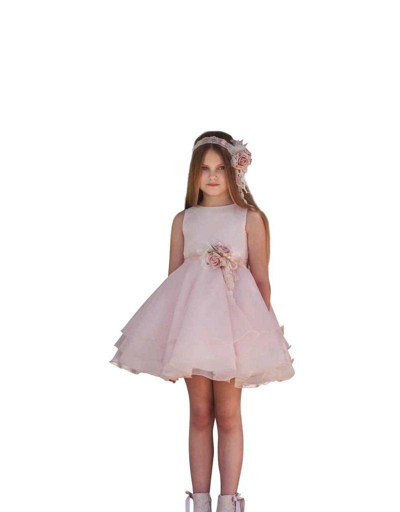 Mimilu roze jurk glad bovenlijfje wijde rok