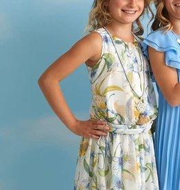 Diamante Blu jurk zm dessin ecru kaki blauw strik achter