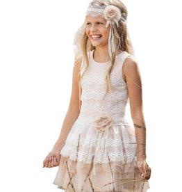 Linea Raffaelli jurk ecru zalm tule laagjes