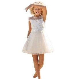Linea Raffaelli ecru jurk met kapmouw kant
