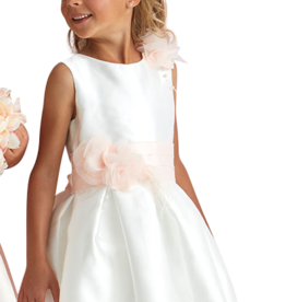 Miss Leod jurk ecru ceintuur bloem ronde hals