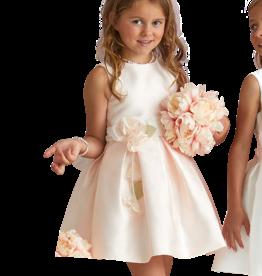 Miss Leod jurk roze ceintuur bloem ronde hals