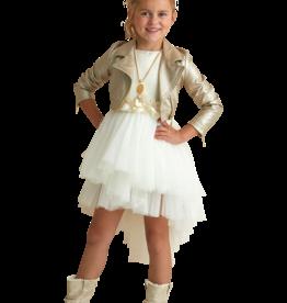 Miss Leod jurk glad goudlijfje met  tule rok