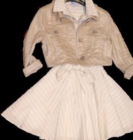 Diamante Blu jurk zm goudkleurig overhemd kraag