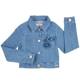 Gymp jeans blazer met kraag en bloem