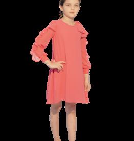 Aletta jurk fuchsia  lm voile frul mouw
