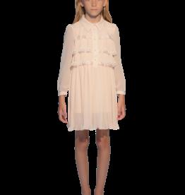 Aletta ecru jurk lm met plisses en kraagje