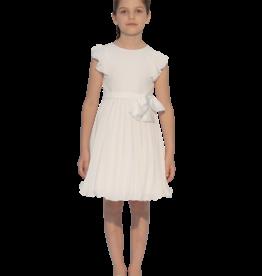 Aletta jurk ecru rok plisse kapmouw