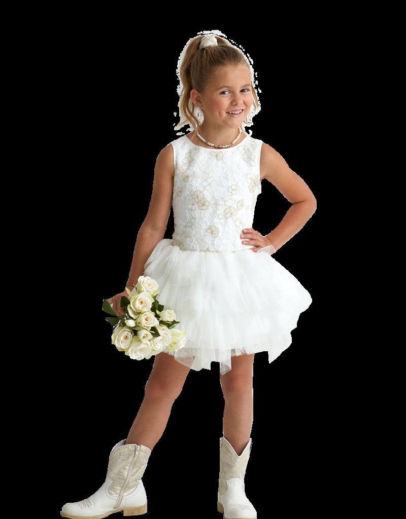 Miss Leod jurk verl taille 3 lagen tule rijgrug