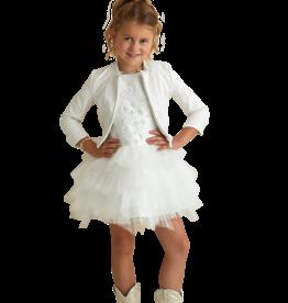 Miss Leod jurk ecru  takjes borduur en tule rok