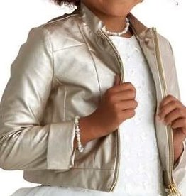 Miss Leod blazer leatherlook goud