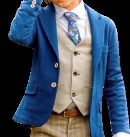Dlux blazer beau blauw stretch uni