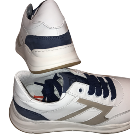 Red Limit/Hoops witte sneaker met taupe en blauw