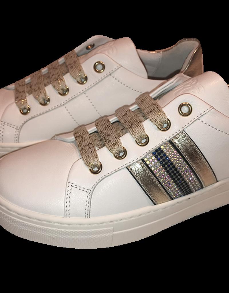 RTB/Hoops sneaker wit met goud en donkerblauw