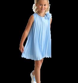 Miss Leod jurk plisse hoog blauw