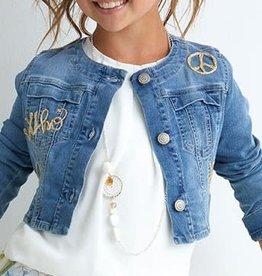 Diamante Blu jeans blazer met goud applicaties