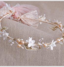 Zoysan kroon ceremonie  ecru zalm goud bloem takjes parels