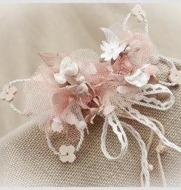 Zoysan haarspeld met bloemen en blaadjes ecru nude beige tinten