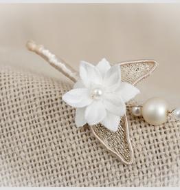 Zoysan haarspeld bloem parel nude goudglans ijzerdraad, per 4 in een doosje