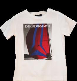 Armani T-shirt wit zeilboot rood