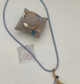 Just one ketting blauw koord bedel flosh