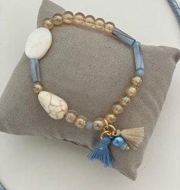 Just one armband goud lichtblauw flosh zandkleur