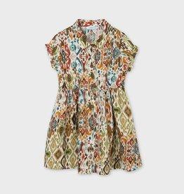 Mayoral jurk met print kaki en oranje