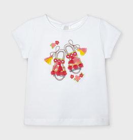 Mayoral T-shirt wit flosjes oranje