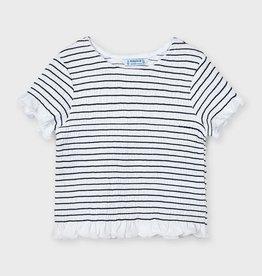Mayoral strepen t-shirt met km ruche wit