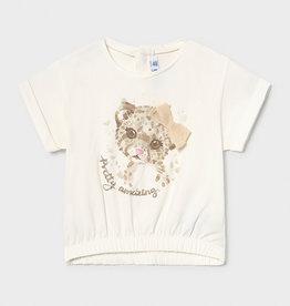 Mayoral T-shirt ecru poes zand