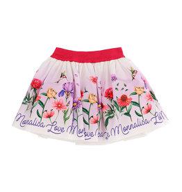 Monnalisa Gevoerde rok ecru bloemen love monnalisa 100%katoen
