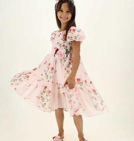 Monnalisa roze gevoerde  jurk met rozen 100% katoen