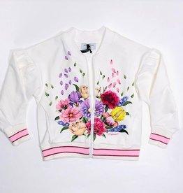 Monnalisa Ecru gilet rits bloemen