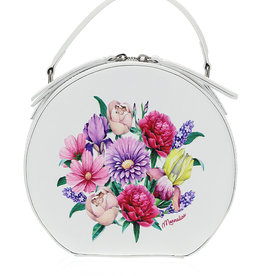 Monnalisa tas rond ecru boeket bloemen