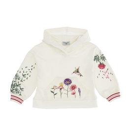 Monnalisa ecru hoodie steekzakken bloemen