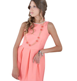 Emie jurk koraal rug open strik goud