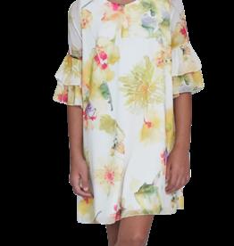 Emie jurk bloemdessin ruches mouw